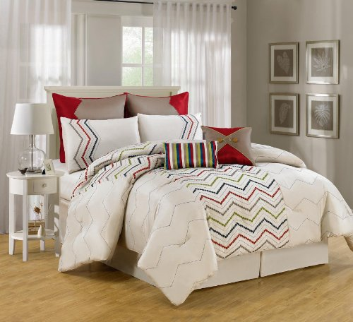 Luxury Home 8-Piece Chevron Comforter Collection, King, Sage