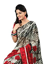 Indian Designer Saree Sari Fanciful Floral Printed Faux Georgette By Triveni