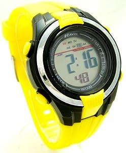 Ravel Boys/Kids Digital LCD Sports Watch - Gift Boxed - Multi Functional- 14-20cm Strap - 3ATM - Yellow 2j