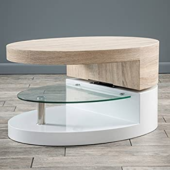 Emerson Oval Mod Swivel Coffee Table w/ Glass