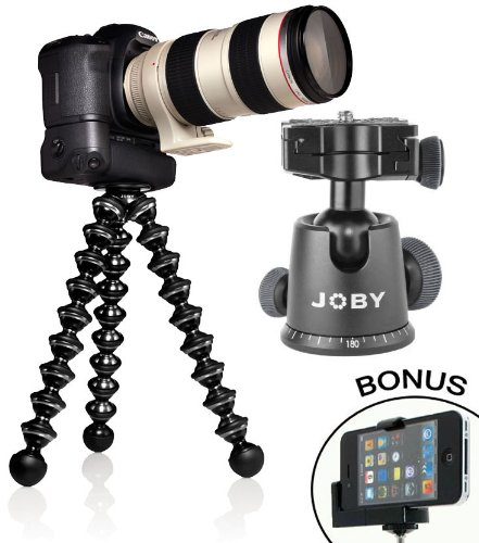 GorillaPod-Focus-Flexible-Tripod-with-Ball-Head-Bundle-For-the-Canon-EOS-Rebel-T5i-T3-T3i-T4-T4i-T2i-T1i-EOS-1D-MARK-III-1D-MARK-IV-1DS-MARK-II-SL1-5D-7D-20D-30D-40D-50D-60D-70D-XS-Xsi-Xti-D-SLR-Camer