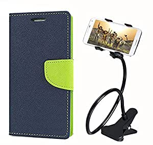 Aart Fancy Diary Card Wallet Flip Case Back Cover For HTC526 - (Blue) + 360 Rotating Bed Tablet Moblie Phone Holder Universal Car Holder Stand Lazy Bed Desktop for by Aart store.