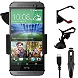 IWIO HTC One Mini M8 Phone Universal 360 Degrees Rotating Suction Mount Car Holder with 12/24v 1000mAh In Car Charger