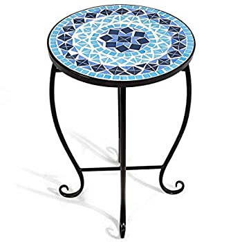 Giantex Mosaic Round Side Accent Table Patio Plant Stand Porch Beach Theme Balcony Back Deck Pool Decor Metal Cobalt Glass Top Indoor Outdoor Coffee End Table (Ocean Fantasy)