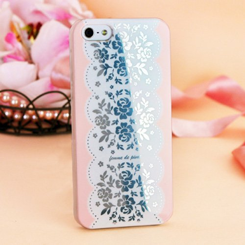 Special Sale Femme Hard Case Cover for iPhone 5 - Femme Romantic Collection (Pink Floral Lace)