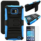 MINITURTLE, Rugged Hybrid Dual Layer Armor Phone Case Cover with Built in Kickstand, Swiveling Holster Belt Clip, and Clear Screen Protector Film for Android Smartphone Samsung Galaxy S2 II Attain SGH-I777 AT&T / Prepaid Straight Talk SGH-S959G (Black / Blue)