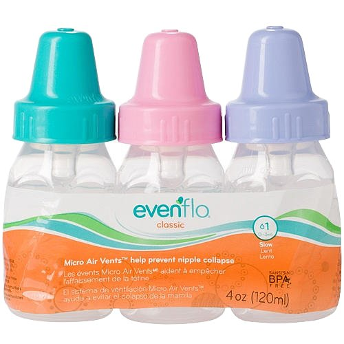 Evenflo 3 Pack Classic Clear Bottle Without Bpa, 4 Ounce - Girl front-701812