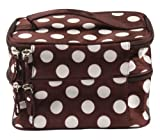 niceEshop Unique Dots Pattern Double Layer Cosmetic Bag Brown
