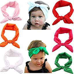 Qandsweet Baby Girl Elastic Hair Hoops Headbands (6pack)