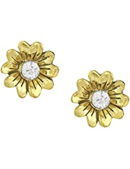 Shining Jewel Antique Gold Plated Brass & Crystal Studs (SJ_56)