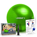 Exercise Ball (Multiple Sizes) for Fitness - Stability - Balance & Yoga - Workout Guide & Quick Pump Included - Anit Burst Professional Quality Design (Green - 55CM)