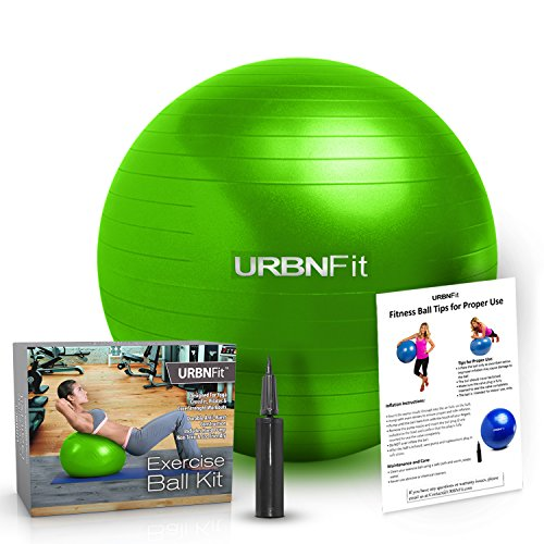 Exercise Ball (Multiple Sizes) for Fitness, Stability, Balance & Yoga - Workout Guide & Quick Pump Included - Anit Burst Professional Quality Design (Green, 55CM)