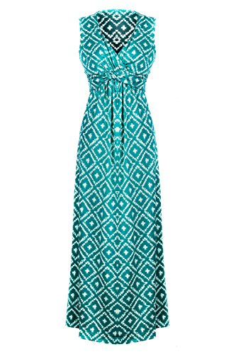 Chic Women's Floral Paisley Smocked Jersey Maxi Dress(DRS-MAX,GRNA11