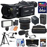 Canon Vixia HF G40 Wi-Fi 1080p HD Digital Video Camcorder + 64GB Card + Battery & Charger + Case + LED Light + 2 Microphones + Tripod + Fisheye Lens Kit
