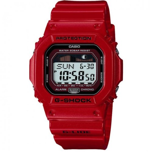 G-Shock Men's Quartz Watch with Grey Dial Digital Display and Red Resin Strap GLX-5600-4ER