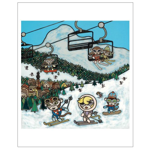 Matthew Porter Art Wall Decor Art Print, Ski Slopes Monkey