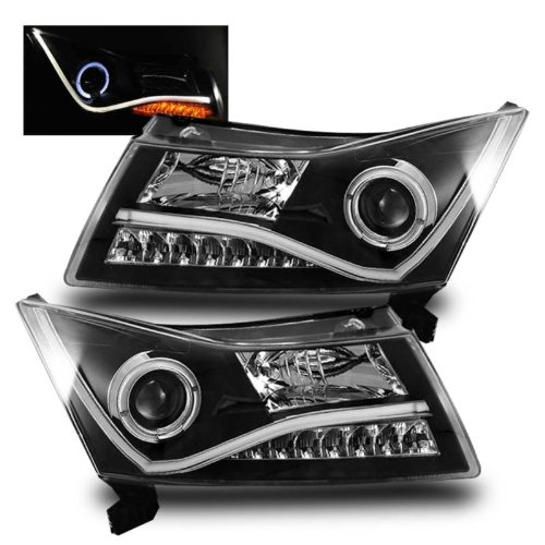 SPPC Projector Headlights Halo Black (CCFL Bar Design) For Chevy Cruze - (Pair) (2012 Chevy Cruze Halo Headlights compare prices)