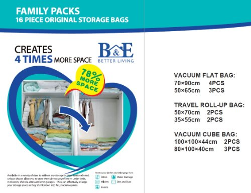 16 PACKS - B&E Home Essential Vacuum Storage Bags (4 Large - 3 Medium - 2 Large Hand Roll - 2 Medium Hand Roll - 2 Large Cube - 3 Large Cube) (16 Packs)