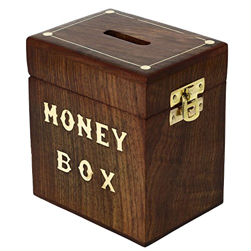 Safe Money Box - Savings Banks Wood Carving Handmade - Piggy Bank Indian Wooden Money Box - 4.5