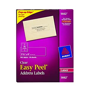 "Avery 5662 Easy Peel 1-1/3"" x 4"" Clear Address Labels, 700 Count"