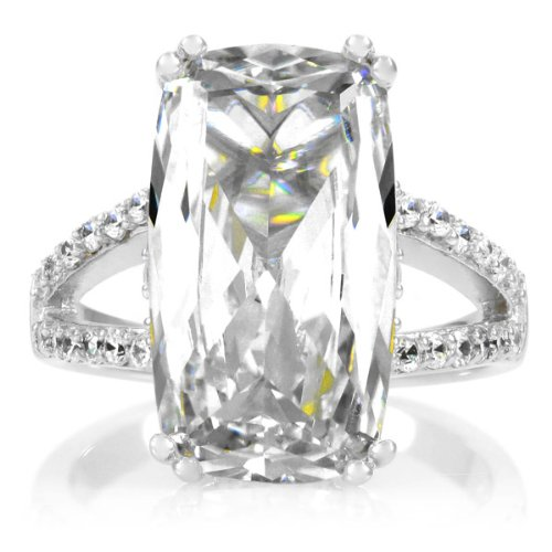 Celebrity Wedding Ring - 6 Carat Emerald Cut CZ