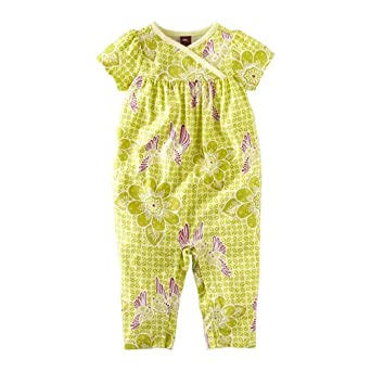 Tea Collection Baby-girls Infant Starling Batik Romper, Palm, 6-12 Months