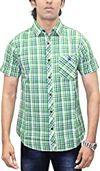 AA' Southbay Men's Green, Beige & Blue Twill Checks 100% Premium Cotton Half Sleeve Casual Shirt