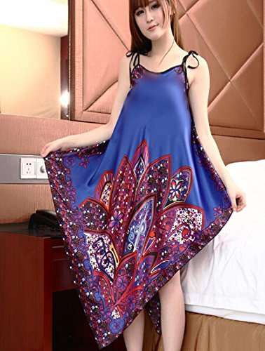 Women'S Bath Bathrobe. Hot Sell Fine Artificial Silk Night Shirt Nightclothes. Dress Clothing Costume Fashion Summer Wear Lady Night-Robe Clothes Tops New Arrival Listing Free Size Gift Present. Siye-05 (Blue) back-572409