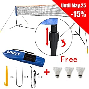 Sobuy Height Adjustable Mini 300 cm Tennis Nets, Badminton Net with stand / frame,Fastening Devices Includes, SFN01