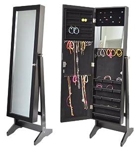 Armoire à bijoux avec miroir 145 cm noir