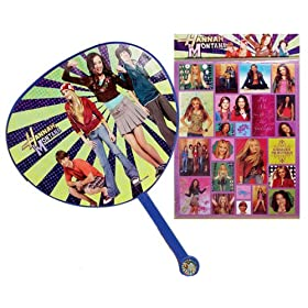 Purple Hannah Montana Hand Fan! Bonus Hannah Montana Sticker Sheet, Hannah Montana Backpack DJ Bag also available!