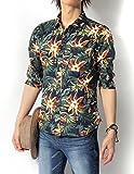 (リピード) REPIDO シャツ メンズ 七分袖シャツ カジュアルシャツ 花柄シャツ アロハシャツ ブロードシャツ 総柄シャツ フラワープリント 七分袖花柄シャツ B.ネイビー Mサイズ