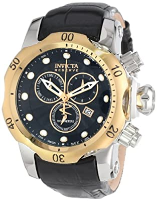 Invicta Men's 10815 Venom Reserve Chronograph Black Textured Dial Black Leather Watch