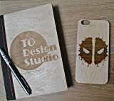 Deadpool Unique Handmade Real Wood Hard Cover Slim Wooden Case iPhone 6/6s pl...