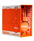 Superdry Technical Headphones. Foldable with a Microphone and Remote. Available in a range of colours. (Orange/White)
