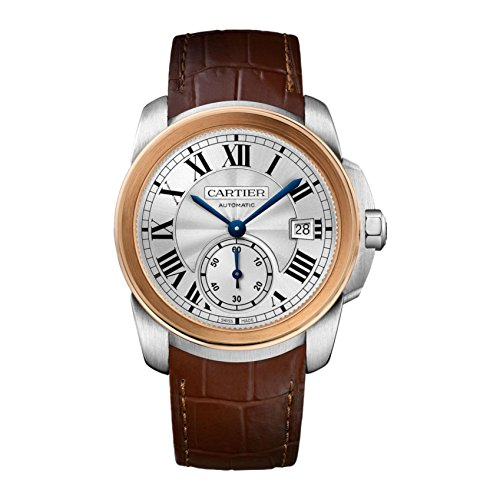 Cartier Men's Calibre De Cartier 38mm Brown Leather Band Steel Case Automatic Analog Watch W2CA0002
