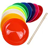 Juggling Plates with Wooden or Plastic Sticks, Mixed Colours, Robust with Curved Base - SchwabMarken