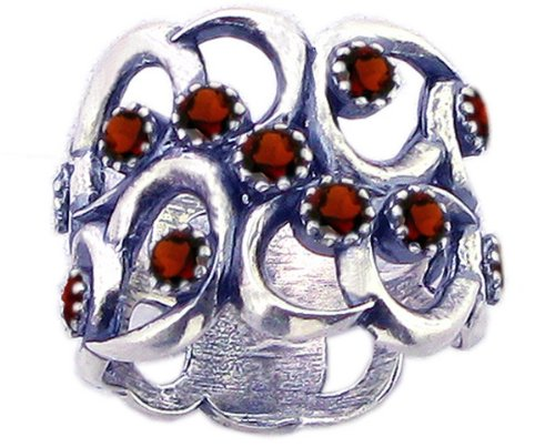 Sterling Silver Wavy Openwork Right Hand Ring with Round Genuine Gems-Garnet-in full,half,quarter sizes from 5 to 9_8.75