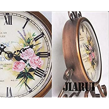 European Style Antique Retro Vintage-inspired Wrought Iron Craft Table Clock Home Decor (Rose) ¡­
