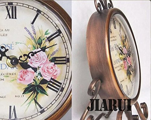 European Style Antique Retro Vintage-inspired Wrought Iron Craft Table Clock Home Decor (Rose) ¡­ 2