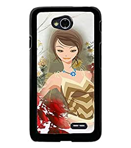 PrintDhaba Bold Girl D-4104 Back Case Cover for LG L90 (Multi-Coloured)