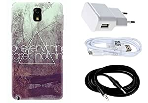 Spygen SAMSUNG GALAXY NOTE 3 Case Combo of Premium Quality Designer Printed 3D Lightweight Slim Matte Finish Hard Case Back Cover + Charger Adapter + High Speed Data Cable + Premium Quality Aux