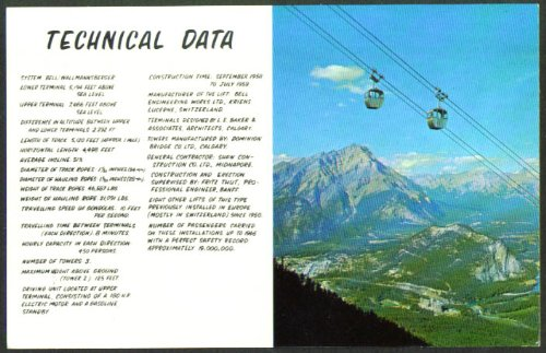 Banff Sulphur Mt Gondola Tech Data Ab Postcard 1950S