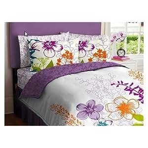 Morgan teen purple green orange white girls multi - Orange and purple bedding ...