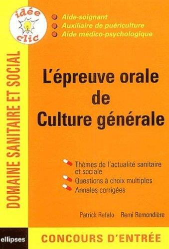 L'épreuve orale de culture générale : Concours AS/AP/AMP