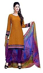CRAFTLIVA Yellow & Purple Printed Crepe Dress Material
