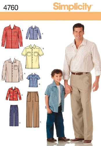 Simplicity Sewing Pattern 4760 Boys and Men Shirts and Pants, A (S-M-L/S-M-L-XL) (Mens Sewing compare prices)