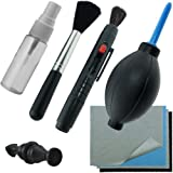 CamKix Pro Cleaning Kit with Precision Design for Optical Lens and Digital SLR Camera (Canon Rebel EOS, Nikon, Olympus, Sony Alpha NEX, Samsung NX & Fuji DSLR and Compatible with most cameras) / One Double sided Lens Cleaning Pen / One Empty Reusable Fluid Spray Bottle / One Lens Brush / One Air Blower / 5 Premium Microfiber Cleaning Cloths