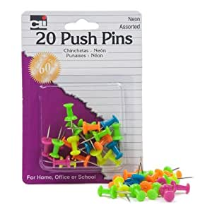 Charles Leonard Pins - Push  - Assorted Neons - 20/Card, 20205