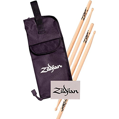 Zildjian 2 Pair 5A Wood Drumstick Pack With Bag And Bass Drum Decal